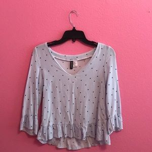 H&M striped with hearts ruffle sleeve top
